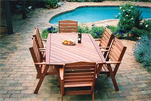 Wanaka Six Seater Table and Hawkesbury Chairs - Timber Outdoor