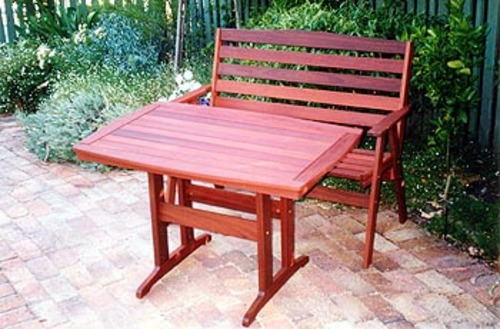 Kyeburn Table With Seat Timber Outdoor Furniture Perth