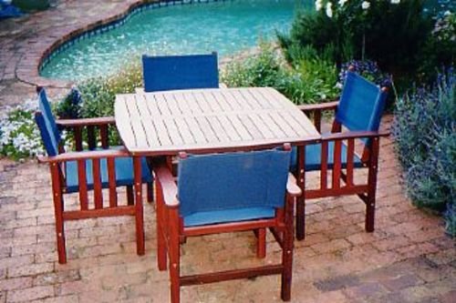 Fairlie four seater square table timber outdoor for Outdoor furniture perth
